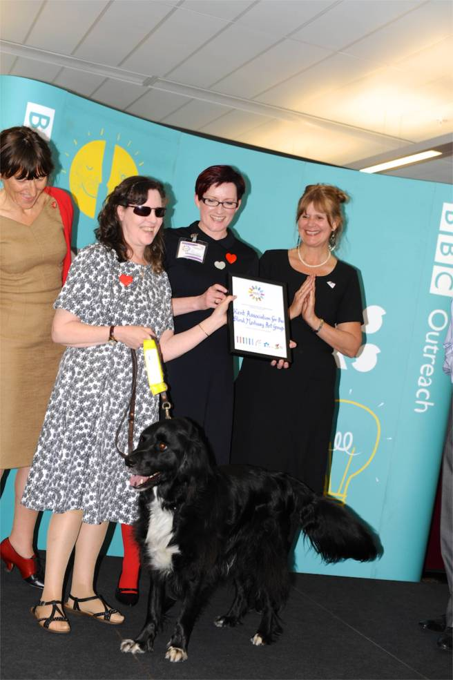 Sue, Quasar and Wendy - Kent Association for the Blind Medway Art Group at the 'Voluntary Arts' at the Epic Awards Winners' Reception 2015. Photography Robin Eley Jones